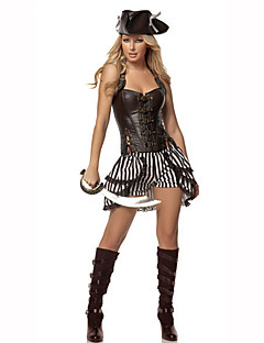 Cosplay Costumes Party Costume Masquerade Pirate Career Costumes Festival/Holiday Halloween Costumes Black Print Dress HatHalloween