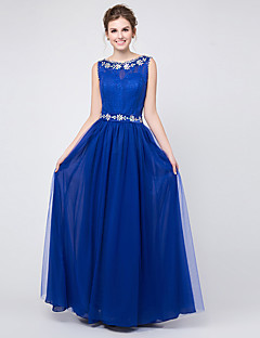Floor-length Chiffon Sparkle & Shine Bridesmaid Dress - A-line Jewel with Appliques / Crystal Detailing
