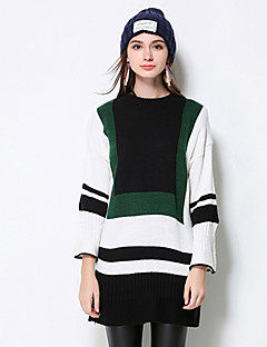 MEIDONGTAI Women's Casual/Daily Simple Regular PulloverStriped White Round Neck Long Sleeve Polyester Fall / Winter Medium Micro-elastic