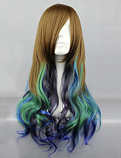 Lolita Wigs Classic/Traditional Lolita Color Gradient Long Brown / Cyan Lolita Wig 68 CM Cosplay Wigs Patchwork Wig For Women