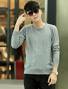 Men's Casual/Daily Simple Short Pullover,Solid Black Gray Green Round Neck Long Sleeve Polyester Fall Medium Micro-elastic