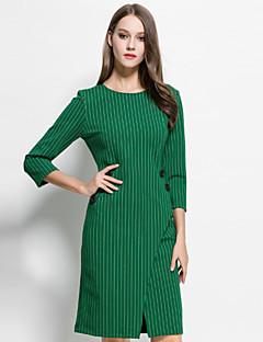 קיץ אחרים אדום / ירוק שרוול ארוך מעל הברך צווארון עגול פסים מתוחכם ליציאה שמלה נדן נשים,גיזרה בינונית (אמצע) קשיח בינוני (מדיום)