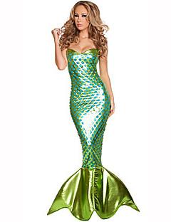 Malá mořská víla Festival/Svátek Halloweenské kostýmy Zelená Jednobarevné ŠatyHalloween / Vánoce / Karneval / Den dětí / Nový rok /