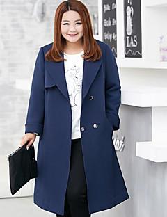Damen Solide Einfach Lässig/Alltäglich / Übergröße Trenchcoat,Herbst V-Ausschnitt Langarm Blau Mittel Polyester