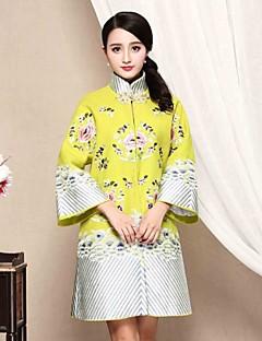 Damen Etuikleid Kleid-Lässig/Alltäglich Chinoiserie Stickerei Ständer Übers Knie Langarm Grün Baumwolle Herbst Mittlere Hüfthöhe