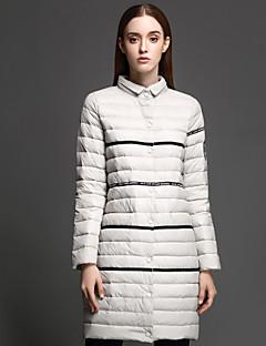 Damen Daunen Mantel Einfach Lässig/Alltäglich Jacquard-Polyester Weiße Entendaunen Langarm Grau Ständer