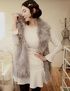 Feminino Jaqueta Informal / Casual Fofo Outono / Inverno,Sólido Cinza Pêlo Sintético Colarinho de Camisa-Sem Manga Grossa