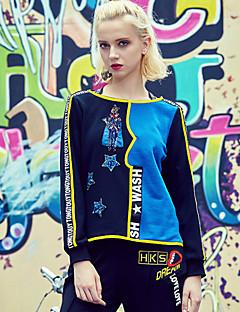 Damen Pullover Lässig/Alltäglich Einfach Stickerei Rundhalsausschnitt Mikro-elastisch Baumwolle Langarm Herbst Winter