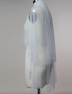 Hochzeitsschleier Zweischichtig Gesichts Schleier Ellbogenlange Schleier Fingerspitzenlange Schleier Schnittkante Tüll