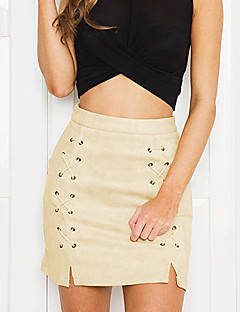 Damen Röcke,Stifte einfarbigAusgehen / Lässig/Alltäglich Street Schick Mittlere Hüfthöhe Über dem Knie Reisverschluss Polyester