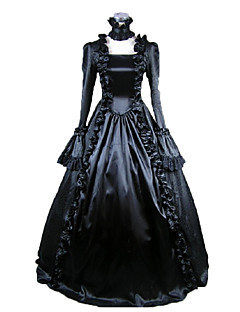 Una Sola Pieza/Vestidos Gosurori Victoriano Cosplay Vestidos de Lolita Negro Un Color Manga Larga Longitud Larga Vestido Para Mujer Satén