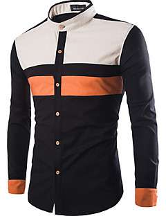 Men's Going out Simple Fall Shirt,Color Block Shirt Collar Long Sleeve Beige / Black Cotton Medium