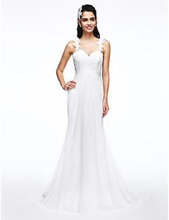 Lanting Bride® Linea-A Abito da sposa Strascico a terra A sottoveste Chiffon / Di pizzo con Con applicazioni