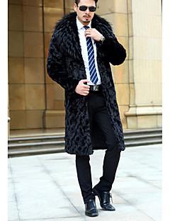 אחיד צווארון חולצה פשוטה יום יומי\קז'ואל מעיל גברים,שחור שרוול ארוך חורף בינוני (מדיום) דמוי פרווה