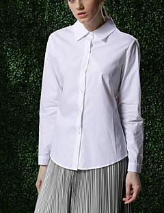 女性 フォーマル / ワーク / パーティー オールシーズン シャツ,シンプル / ストリートファッション / モダンシティ スクエアネック ソリッド ホワイト コットン 長袖 薄手