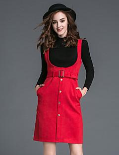 Damen Solide Einfach Lässig/Alltäglich Rock Anzüge,Rollkragen Langarm Rot / Braun Polyester
