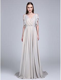 Lanting Bride® Dlouhá vlečka Šifón Šaty pro družičky A-Linie Do V s Knoflíky / Volánky / Křížení
