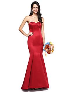 2017 לנטינג סאטן באורך הרצפה bride® לפתוח בחזרה / שמלת השושבינה אלגנטי - חצוצרה / בת הים sweethear