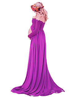 Maternity See-through Chiffon Gown Split Front Maxi Photography Dress for Photo Shoot