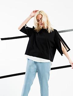 T-shirt Da donna Per uscire / Casual / Spiaggia Semplice / Moda città Primavera / Estate,Tinta unita Rotonda Cotone Nero Mezze maniche