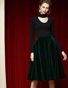 Damen Röcke,A-Linie einfarbigLässig/Alltäglich Einfach Hohe Hüfthöhe Midi Elastizität Polyester Micro-elastisch Herbst / Riemengurte