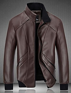 Men's Casual/Daily Simple Leather Jackets,Solid Stand Long Sleeve Winter Multi-color PU / Cowhide Thick