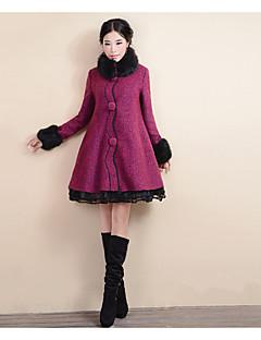 מנוקד פשוטה יום יומי\קז'ואל מעיל נשים,אדום שרוול ארוך כותנה