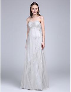 2017 לנטינג שמלה באורך רצפת תחרה / טול שושבינה bride® - מתוק עם שתי וערב