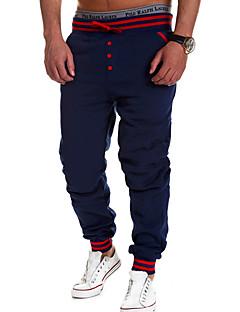 Hombre Corte Ancho Chinos Pantalones,Un Color Casual/Diario Activo Tiro Medio Botón Algodón Micro-elástica All Seasons