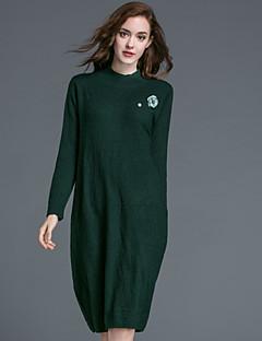 Kadın Günlük/Sade Sade Çan Elbise Solid,Uzun Kollu Yuvarlak Yaka Diz-boyu Mavi / Yeşil Yünlü / Pamuklu Sonbahar / Kış Normal Bel