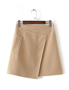Women's A Line Solid Skirts,Going out / Casual/Daily Simple / Street chic Mid Rise Mini Zipper Rayon / Polyester / Nylon InelasticFall /