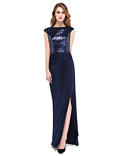 Lanting Bride® מעטפת \ עמוד שמלה לאם הכלה  - נוצץ וזוהר עד הריצפה ללא שרוולים נצנצים / ג'רסי  -  שסע קדמי / קפלים