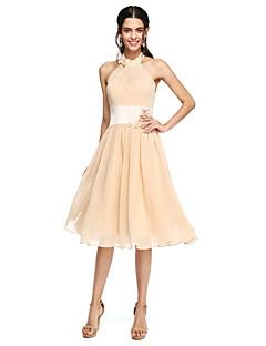 LAN TING BRIDE Knee-length High Neck Bridesmaid Dress - Beautiful Back Sleeveless Chiffon