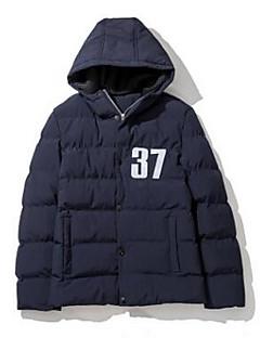 コート レギュラー パッド入り 男性,お出かけ ソリッド コットン コットン-シンプル 長袖 フード付き ブルー / ブラック / ブラウン