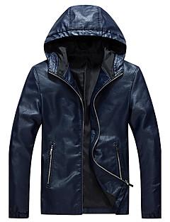 Masculino Jaquetas de Couro Trabalho / Informal / Casual estilo antigo / Simples / Punk & Góticas Outono / Inverno,Sólido Azul / Preto
