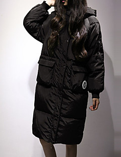Women's Long Down Coat,Simple Casual/Daily Letter-Others White Duck Down Long Sleeve Black / Green