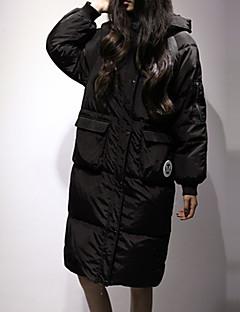 Пальто Простое Длинная Пуховик Для женщин,Буквы На каждый день Другое Пух белой утки,Длинный рукав