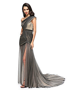TS Couture Formal Evening Dress - Celebrity Style Sheath / Column One Shoulder Court Train Tulle with Side Draping Split Front Criss Cross