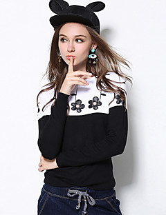 Women's Casual/Daily Plus Size Simple Regular Pullover,Embroidered Black Round Neck Long Sleeve Rayon Nylon Fall Winter Medium
