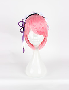 Cosplay-Peruukit Cosplay Cosplay Pinkki Lyhyt Anime Cosplay-Peruukit 35cm CM Heat Resistant Fiber Naaras