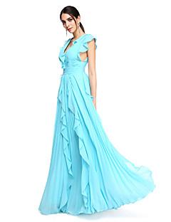 TS Couture® ערב רישמי שמלה - גב יפהפייה / סגנון של מפורסמים גזרת A צווארון וי עד הריצפה שיפון עם קפלים / בד נשפך בצד / סלסולים
