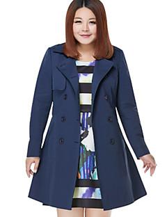 Damen Solide Einfach Lässig/Alltäglich / Übergröße Trenchcoat V-Ausschnitt Langarm Blau / Rot Mittel Baumwolle / Polyester