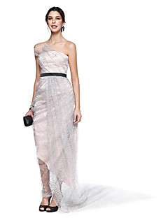 TS Couture® Prom  Cocktail Party Dress A-line Strapless Ankle-length Lace / Satin / Sequined with Pick Up Skirt / Side Draping