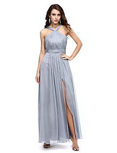 2017 formale Abendkleid a-line Halfter bodenlangen Chiffon mit Drapierung / split Front