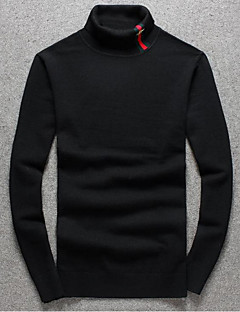 Men's Going out Casual/Daily Simple Regular Pullover,Solid Red Black Gray Turtleneck Long Sleeve Polyester Fall Winter Medium