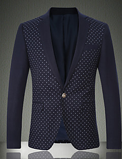 Men's Casual/Daily / Work / Party/Cocktail Vintage / SimplePrint / Color Block Shirt Collar Long Sleeve Fall / Winter Blue / GrayWool /