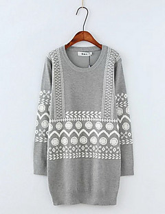 Women's Going out Simple Regular Pullover,Print Gray Round Neck Long Sleeve Polyester Fall Medium Micro-elastic