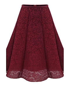 Women's Lace Plus Size Swing Solid Tulle Skirts,Casual/Daily Simple Mid Rise Knee-length Elasticity Cotton Micro-elastic Fall