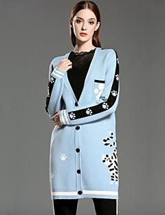 Lang Cardigan Fritid/hverdag Vintage Dame,Geometrisk Blå / Rosa V-hals Langermet Rayon / Nylon Vinter Tynn Mikroelastisk