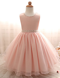 Princess Knee-length Flower Girl Dress - Cotton Tulle Jewel with Pearl Detailing